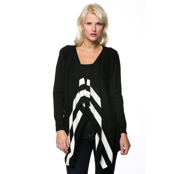 Women's Long Sleeve Black/ White Asymmetric Hem Cardigan
