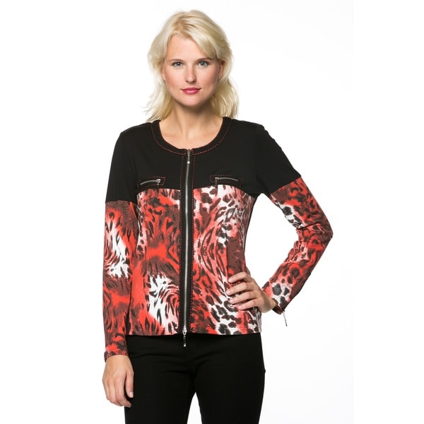 Women's Animal Print Zipper Jacket