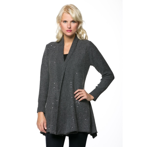 Women's Long Sleeve Glitter Embellished Cardigan