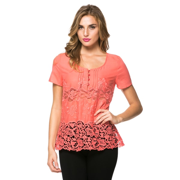 Women's Coral Lace Embellished Blouse