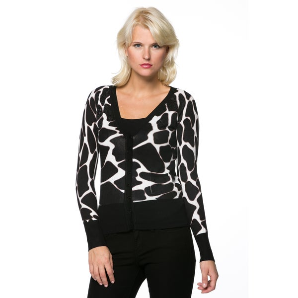 Women's Animal Print Embellished Sweater