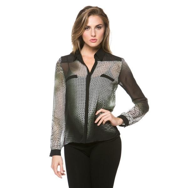 High Secret Women's Geometric Long-sleeve Blouse