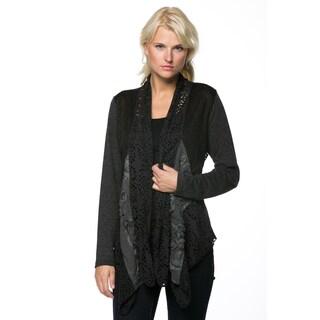 High Secret Women's Multi Fabric Draped Neck Cardigan