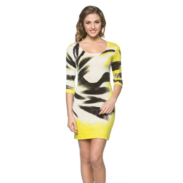 Women's Hand-painted Yellow/ Black A-Line Dress
