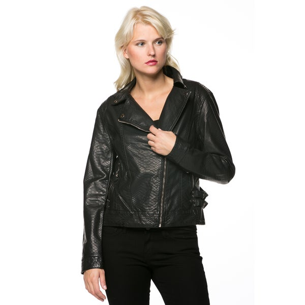 Women's Black Zip-up Faux Leather Moto Jacket