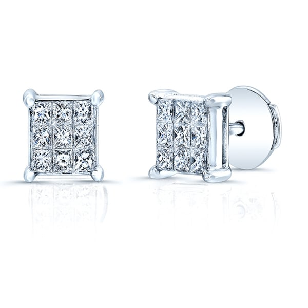 18k White Gold 1/2ct TDW Invisible-set Diamond Stud Square Earrings (H-I, VS1-VS2)