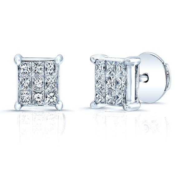 18k White Gold 1/2ct TDW Invisible-set Diamond Stud Square Earrings (H-I, VS1-VS2)