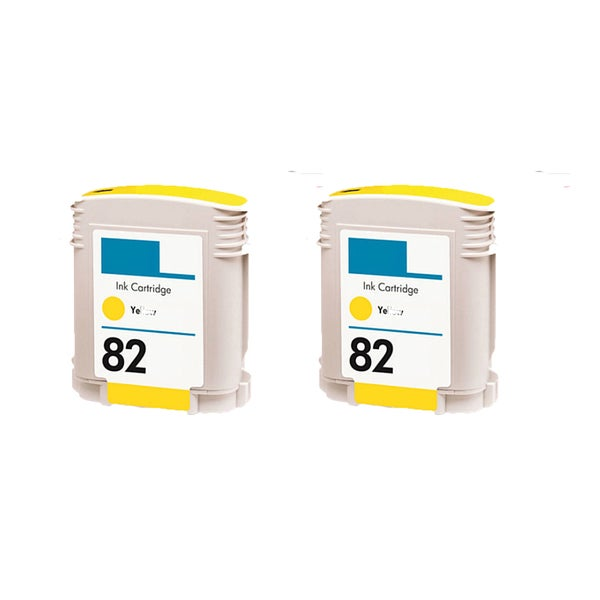 2PK C4913A (HP 82) Yellow Compatible Ink Cartridge For HP Designjet 800 500 (Pack of 2)