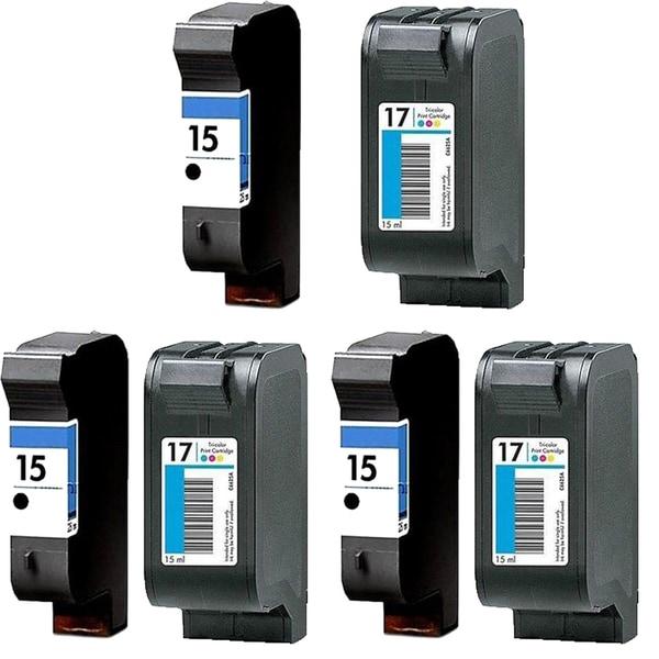 3Set HP C6615 (HP 15) Black & HP C6625 (HP 17) Color Compatible Ink Cartridge For HP Deskjet 825C 810C (Pack of 6)