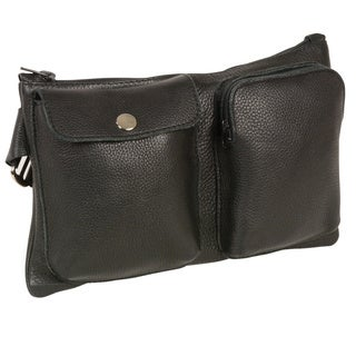 Unisex Leather Belt Bag with Two Front Pockets