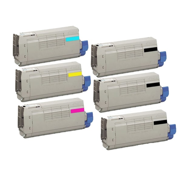 6PK Compatible 3 x 43324424 / 20 + 43324423 / 19 43324422 / 18 43324421 / 17 Toner Cartridge For OKI C5550 (Pack of 6)