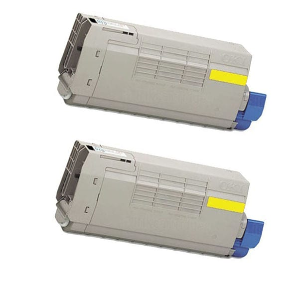 2PK Compatible 43324421 / 43324417 Yellow Toner Cartridge For OKI C5550 (Pack of 2)