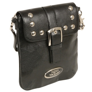 Women's Studded Leather Messenger Bag