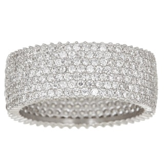 Pori 18k White Gold over Silver 7-row Micropave Cubic Zirconia Eternity Ring