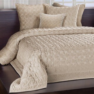 Meridian Sand Embroidered Luxe Velvet Quilt