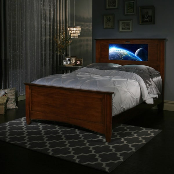 lightheaded beds chestnut canterbury full size light up headboard bed by lifetime 17680612. Black Bedroom Furniture Sets. Home Design Ideas