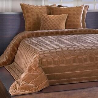 Chauran Meridian Cognac Embroidered Luxe Velvet Quilt