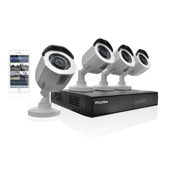 LaView 4-channel 720p HD 1TB Analog DVR Security System with IP Channel and 4 White 720p Cameras