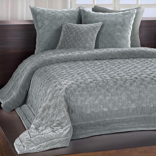 Chauran meridian mist grey embroidered luxe velvet quilt for Grey velvet comforter