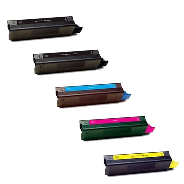 1Set+1BK Compatible 42487735 42487734 43487733 42487736 (BCMY) Toner Cartridge For OKI C8600 8800 (Pack of 5)