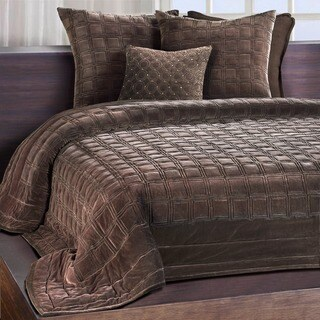 Meridian Espresso Embroidered Luxe Velvet Quilt