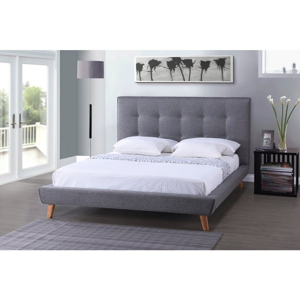 Jonesy Scandinavian Style Mid-century Grey Fabric Upholstered King Size Platform Bed