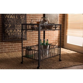 Baxton Studio Bentley Antiqued Vintage Industrial Metal and Wood Wheeled Kitchen Serving Cart