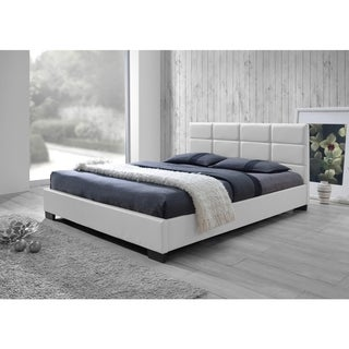 Baxton Studio Vivaldi Contemporary White Faux Leather Padded Platform Base Bed