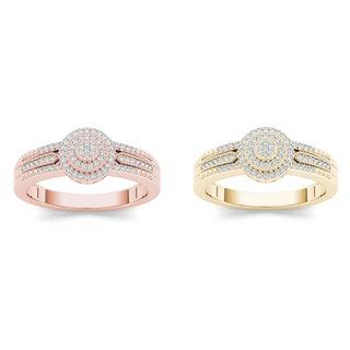 De Couer 10k Gold 1/5ct TDW Diamond Halo Ring (H-I, I2)