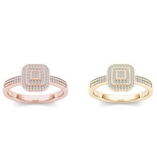 De Couer 10k Gold 1/6ct TDW Diamond Halo Ring (H-I, I2)
