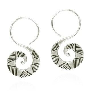 Thai Hill Tribal Graphic Curl Hook Dangle Silver Earrings (Thailand)
