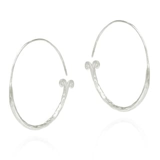 Thai Hammered Mermaid Tail 50mm Hoop Silver Earrings (Thailand)