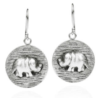 Thai Elephant Disc Thai Handmade Silver Dangle Earrings (Thailand)