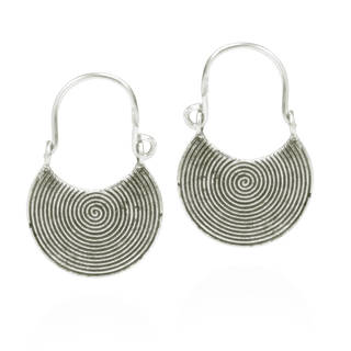 Hypnotic Swirls Flat Circle Thai Tribe Silver Earrings (Thailand)