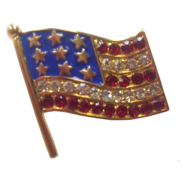 American Flag Pin with Gems Fashion Brooch