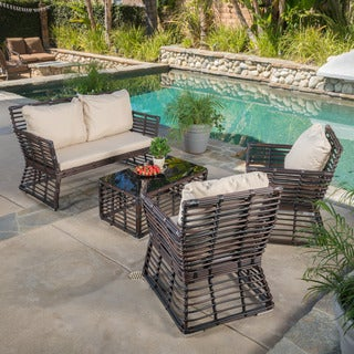 Christopher Knight Home Lisandro Outdoor 4-piece Aluminum Chat Set with Cushions