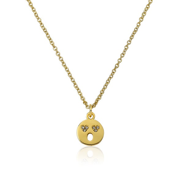 LMTS 14k Goldplated Open Mouth Smiley Face with Heart Shaped Eyes Emoji Cubic Zirconia Necklace