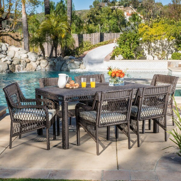 Christopher Knight Home Oakridge Outdoor 7-piece Wicker Dining Set with Cushions -  295906