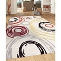 Contemporary Abstract Circle Design Cream 5 ft. 3 in. x 7 ft. 3 in. Indoor Area Rug