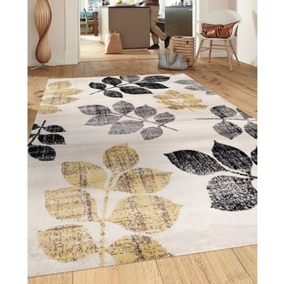 Transitional Floral Design Cream/Yellow 5 ft. 3 in. x 7 ft. 3 in. Indoor Area Rug