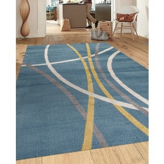 Abstract Contemporary Modern Stripes Blue 5 ft. 3 in. x 7 ft. 3 in. Indoor Area Rug