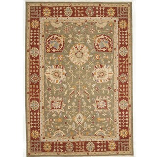 Indo Bothan Green and Burgundy Hand-knotted Wool Rug (3' x 5')