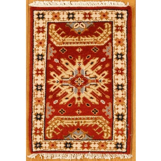 Kazak Red/ Ivory Hand-knotted Accent Rug (India)