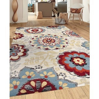 Transitional Large Floral Design Cream/Gray/Blue 7 ft. 10 in. x 10 ft. 2 in. Indoor Area Rug