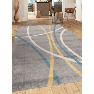 Abstract Contemporary Modern Stripes Gray 7 ft. 10 in. x 10 ft. 2 in. Indoor Area Rug