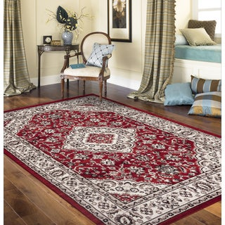 Traditional Oriental Medallion Design Red 3 ft. 3 in. x 5 ft. Indoor Area Rug
