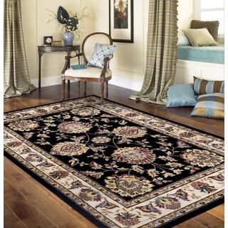 Traditional Oriental Design Black 3 ft. 3 in. x 5 ft. Indoor Area Rug