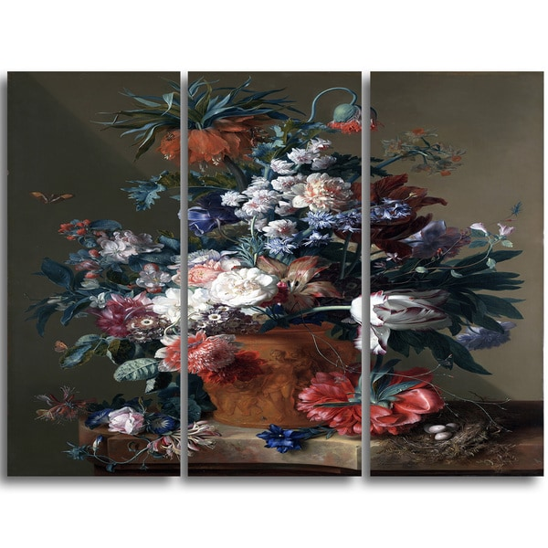 Design Art 'Jan van Huysum - Vase of Flowers 3' Canvas Art Print - 32Wx26H Inches - 3 Panels