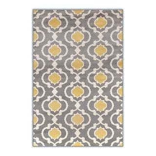 Moroccan Trellis Contemporary Gray Yellow 3 ft. 3 in. x 5 ft. Indoor Area Rug