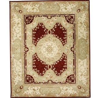 Chinese Florence Red/ Green Hand-tufted Wool and Silk Area Rug (7'9 x 9'9)